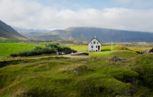 This house sits on the coast in Hellnar Iceland in the Snæfellsnes Peninsula