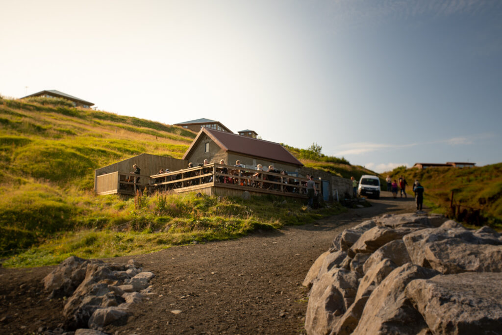 The incredible cliff perched restaurant of Fjöruhúsið just out side of Hellnar in the west Icealnd