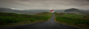 Ingjaldsholl church is perched on a hill in the Snaefellsnes peninsula in Iceland. It sits at the end of a road and is a perfect subject for a travel photographer.