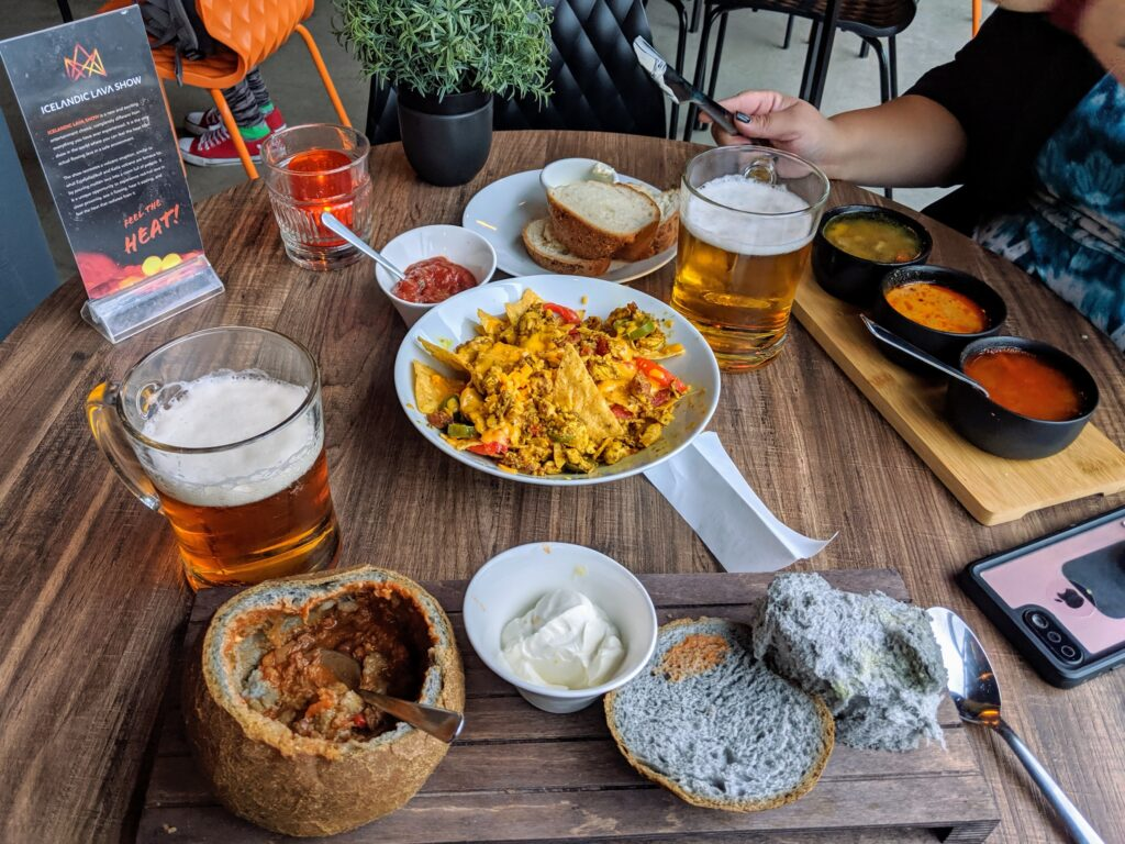 This is not a small meal but it was a sample of everything this place had to offer. This was taken at the Icelandic Soup Company in Vik Iceland. The soup is exceptional but the nachos were amazing!